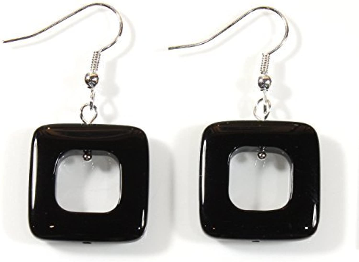 Square Deal Black Agate (Dyed) Earrings, Dangle 1.5 Inches