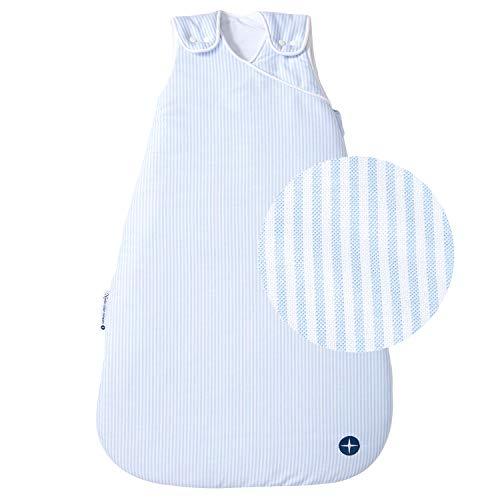 Baby Schlafsack 110 cm nordic coast | Schlafsack Baby Blau Weiss gestreift | Babyschlafsack Ganzjahres für 18-21° Raumtemperatur | 18-36 Monate