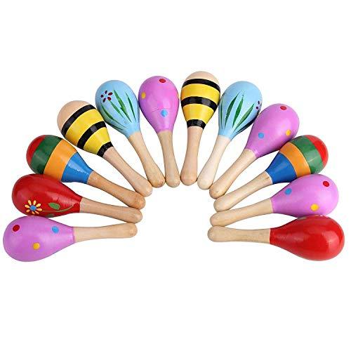 Bujingyun Mini Wooden Fiesta/Ball Musical Instruments Maracas-12pcs(Colors Vary)