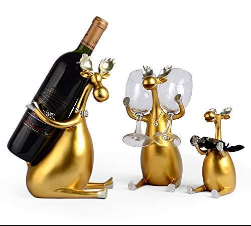 YWYW Estante para Vino Tinto de Resina nórdica Ciervo Familia Soporte para Botella Figuras Iluminación Artículos de mobiliario para Menage Decoración de Boda Estante para Vino (Color: A, Tamaño: