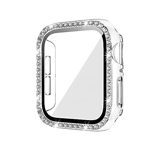 Custodia per Apple Watch Series 6/SE/5/4/3/2/1 con Glitter Diamante, Cover Rigida Protezione e Pellicola Protettiva per iWatch 38/40/42/44mm, Sensibile Touch, Donna e Ragazza (44MM, Trasparente)