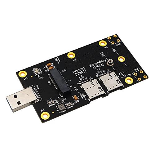 Cmstop Adaptador M.2 a USB 3.0 con Ranura para Tarjeta Dual Nano SIM Tarjeta adaptadora de Tarjeta de expansión para computadora portátil Módulo de Escritorio WLAN/LTE 3G / 4G / 5G