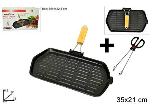 Parrilla de hierro fundido rectangular para cocción dietética + pinzas 21 x 35 cm