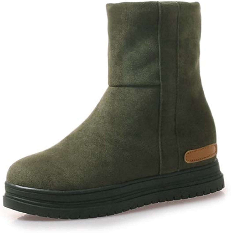 GIY Womens Snow Boots Suede Platform Flat Heel Round Toe Winter Warm Fur Slip On Cute Mid Calf Boots