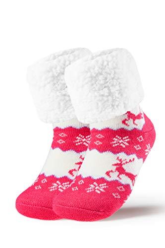 Piarini 1 Paar Kuschelsocken mit ABS Sohle - warme Damen Socken Hüttensocken - Wintersocken mit Anti Rutsch Noppen - Rentier - Pink (One-Size)