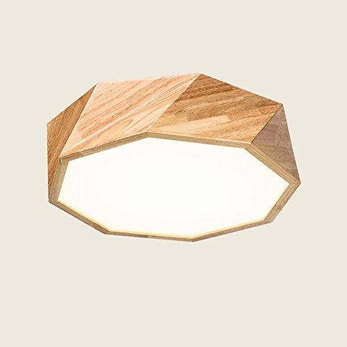 XIAOLIN-Montage Encastré Plafonnier- Géométrie en bois massif à LED Nordique Luminaire plafonnier circulaire en bois Salon créatif avec lambris de chambre à coucher Plafonnier (couleur, taille en option) --Profitez confortablement ( Couleur : Stepless gradation-De 55 cm )