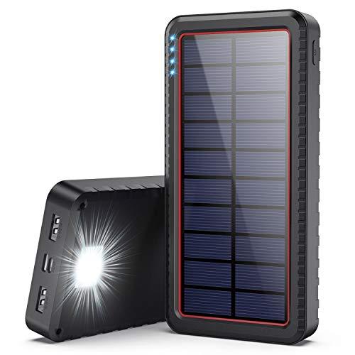 AOPAWA Solar Powerbank 26800mah,【3 Eingänge (Typ C/Micro B) & 2 Ausgänge】 Solar Ladegerät Externer Akku Hohe Kapazität Power Bank mit [LED-Taschenlampe] Akkupack für Smartphones, Tablets und mehr