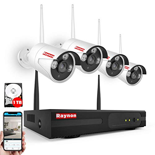 Raynon Wireless Camera Security System, 4CH 1080P NVR + 4 1080P 2.0 Megapixel Indoor/Outdoor IP66 Wireless Cameras + 1TB HD Preinstalled