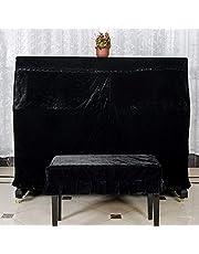 Cubierta para piano de terciopelo, cubierta completa de piano decorada con hermoso macramé para proteger piano vertical o taburete contra polvo y arañazos., negro