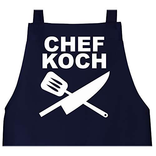 Shirtracer Schürze mit Motiv - Chefkoch Messer - 80 cm x 73 cm (H x B) - Navy Blau - kochschürze männer - X967 - Schürze und Kochschürze für Erwachsene
