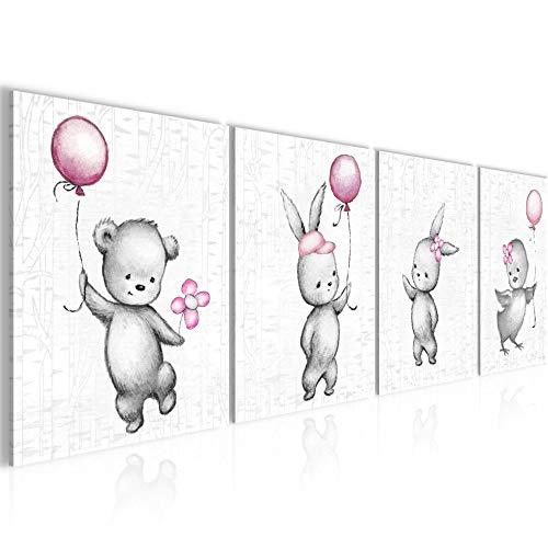 Bilder Set mehrteilig Kinderzimmer Tiere Wandbilder Wohnzimmer XXL 160 x 50 cm Rosa Grau Modern 0178b