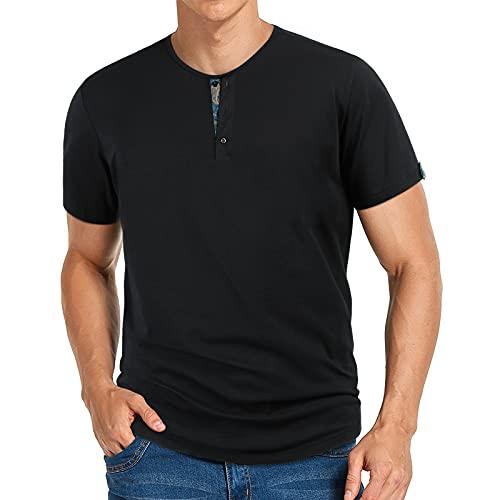 Camiseta Henley para Hombre, Casual, de Manga Corta, Ajustado, Cuello Redondo, Moda, Verano, básico, algodón, Negro, Polos Deportivos