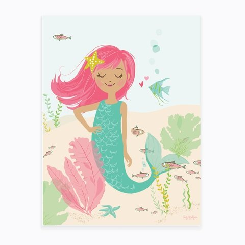 Art Poster Mermaid (12 X 16 in) - Pink
