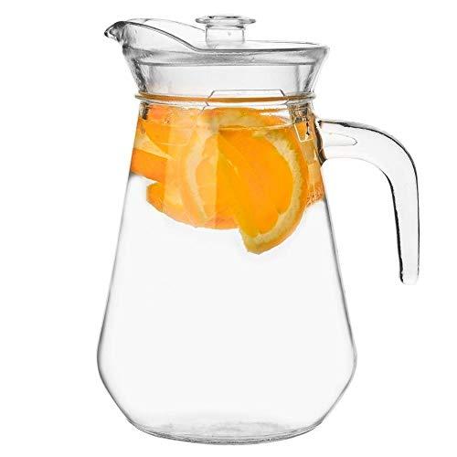 ORION Glaskaraffe Glas Karaffe KrugGlas 1,3 L Krug mit Deckel und Auslauf