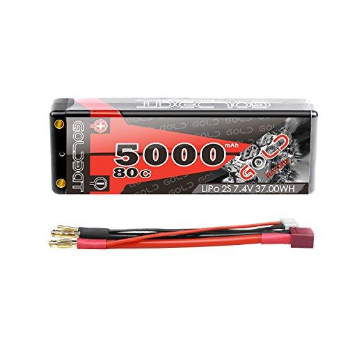 GOLDBAT Lipo RC Akku 5000mAh 7,4V 80C 2S RC Batterie mit Deans-T Stecker für RC Auto Boot Truck LKW Truggy RC Hobby【Hartschale】 (1 Pack)
