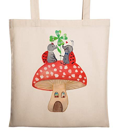 Mr. & Mrs. Panda jutezak, tas, Draagtas Lieveheersbeestje paar paddenstoel - Kleur Transparent