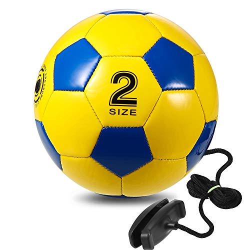 Solo Soccer Trainer, Smart Training Soccer Ball with Cord for Juggling, Foot Control, Kicking Practice, Portable Adjustable Tethered Ball for Backyard Outdoor Soccer Game