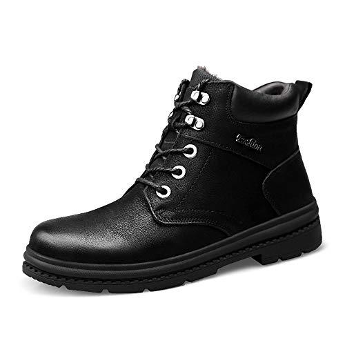 Kettle de Silbato para la Placa de Gas Hombres Moda Tobillo Trabajo Boot Casual Invierno Prosperoo con Fleece Impermeable Dentro Dentro de Bota Superior Rápida (Color : Black, Size : 45 EU)