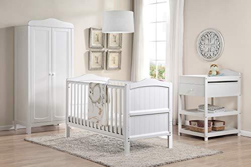 Babylo Cama de Madera Ella y Cama Infantil de 3 Posiciones de Altura Que se Convierte de Cuna a Primera Cama Infantil, Color Blanco