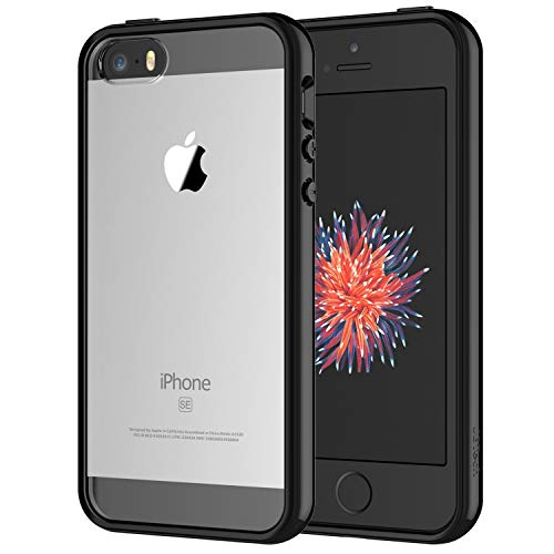 JETech Coque Compatible avec iPhone Se 2016 (Pas compatiable avec 2020), iPhone 5s et iPhone 5, Shock-Absorption et Anti-Rayures, Housse Case Cover Transparente Antichoc, Noir