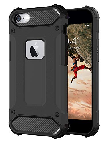 BYONDCASE Funda para teléfono móvil iPhone 6 Plus, color negro [Tank Outdoor Case] iPhone 6 Plus funda rígida ultra delgada compatible con iPhone 6 Plus