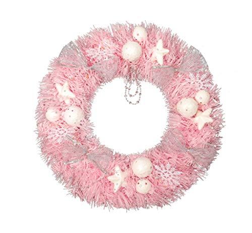ZQZSDT Kerstkrans, roze kralen ketting slinger de nieuwe 30/40/50/60cm creatieve simulatie sneeuwbal