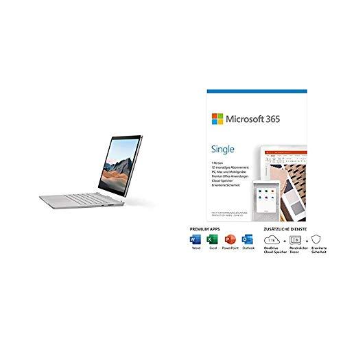 Microsoft Surface Book 3, 13,5 Zoll 2-in-1 Laptop (Intel Core i5, 8GB RAM, 256GB SSD, + Microsoft 365 Single| 1 Nutzer | Box