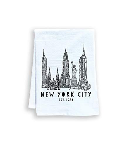 Funny Dish Towel, New York City, Flour Sack Kitchen Towel, Sweet Housewarming Gift, Farmhouse Kitchen Decor, White