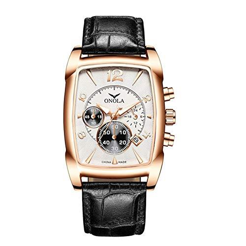 JTTM Reloj De Hombre Cronógrafo Analógico De Cuarzo Reloj De Pulsera Impermeable para Negocios con Correa De Cuero,Black and White