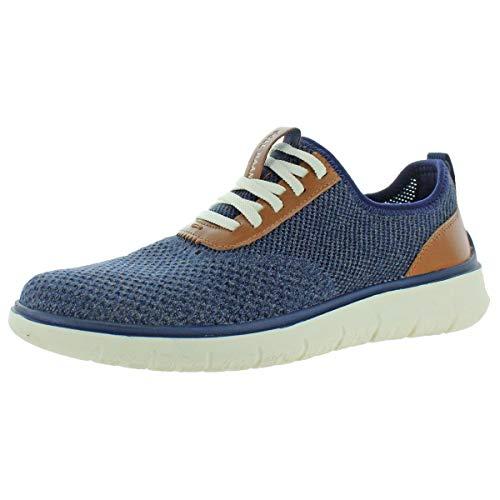 Cole Haan Generation Zerogrand Stitchlite, Chaussures de Sport Homme, Bleu Marine Gris Fines Rayures tricotées Ch British Tan Ivoire, 44.5 EU