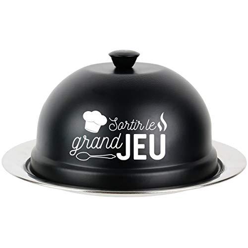 Promobo - Plateau Avec Cloche Gâteau Inscription Sortir Le Grand Jeu Inox Noir