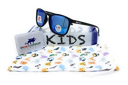 VENICE EYEWEAR OCCHIALI Gafas de sol Polarizadas para niño o niña - protección 100% UV400 - Disponible en varios colores (Negro - Azul)