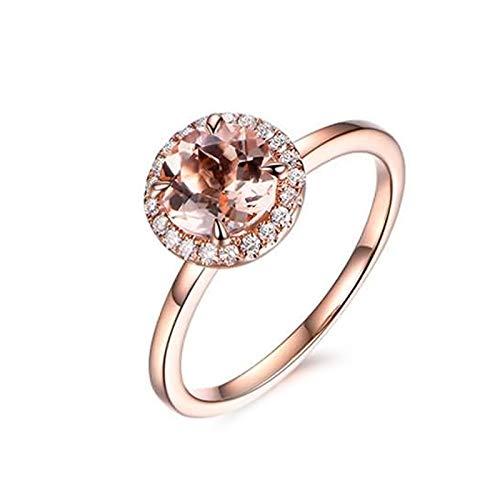 Cenliva Ladies Wedding Band, 18K Gold 1.03ct Diamond Accented Morganite with Diamond VVS1-VVS2 Ring Size K 1/2