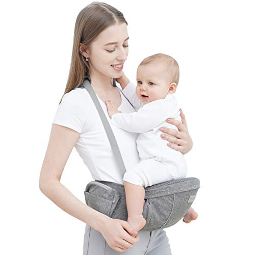 Baby Carrier with Hip Seat - YEAHOME Safety Certified Waist Carrier with Adjustable Biggest Buckle, Pocket and Adjustable Straps,Ergonomic Soft Baby Hip Seat with Breathable Air Mesh Mothers day gifts