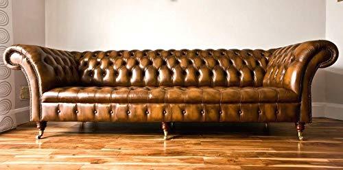 JVmoebel XXL Big Sofa Couch Chesterfield 245cm Polster Sofas 4 Sitzer Leder Textil #318