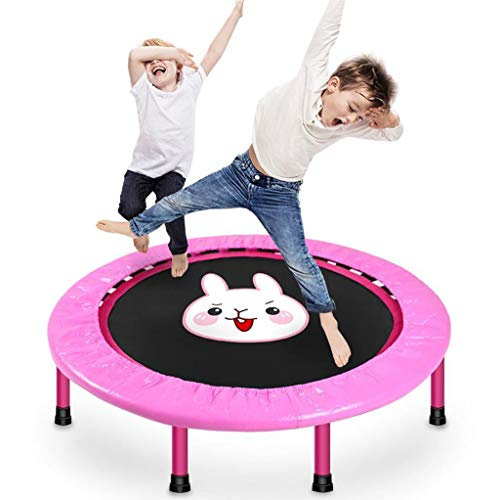 40' Silent Mini Trampoline Fitness Trampoline Bungee Rebounder Jumping Cardio Trainer Workout for Adults - Max Limit 240 lbs (Color : Pink)
