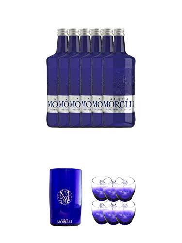 Morelli STILLES Wasser 6 x 0,75 Liter + Morelli Wasserkühler aus Acryl + Morelli Leonardo Wassergläser mit Eichstrich 0,2 Liter 6 Stück