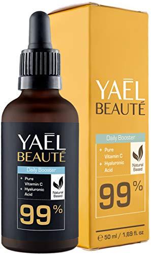 Sérum Visage avec Vitamine C & Acide Hyaluronique ● Compatible Dermaroller ● 99% Naturel ● Soins pour le Visage et le Décolleté ● 50 ml
