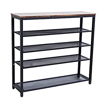 Sihang Home Industrial Shoe Racks 5 Tier Shoe Storage Organizer with 4 Mesh Shelves for 16-20 Pairs Shoe Racks Bench for Home Enterway Hallway Vintage
