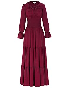 Features: Collar with ruffle brims and lace-up; Waist with pleated tunic; Casual tiered renaissance maxi dress Unique design rich solid hues, draw string ruffle neckline, smocked waist, and delicate tiered skirt. Waistline is well elastic and no zipp...