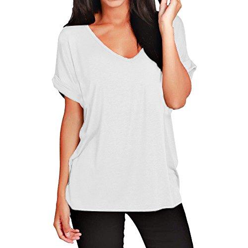 Damen-T-Shirt, lockere Passform, V-Ausschnitt, kurzärmelig, Top, 36-56 Gr. 50/52, weiß