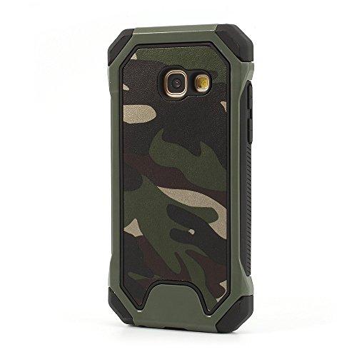 jbTec Hybrid Case Handy-Hülle Camouflage - Schutzhülle Schutz-Schale Cover Tasche Etui Silikon Handyhülle Handytasche, Farbe:Oliv-Grün, passend für:Samsung Galaxy A5 2017