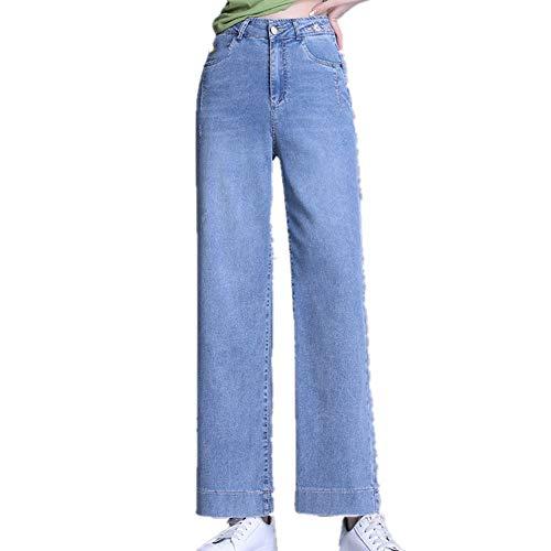 N\P Verano Delgado Tencel Denim Pantalones De Pierna Ancha Sueltos Y Delgados Pantalones Rectos De Cintura Alta De Las Mujeres