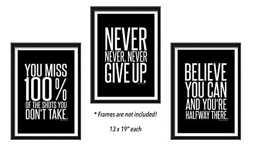 Motivational Quote Workout Gym Posters   Classroom, Office and Home Wall Art Decor   Black and White Signs for Teenagers Boys Girls Teens Entrepreneurs   Positive Sayings and Phrases (13 x 19 Black)