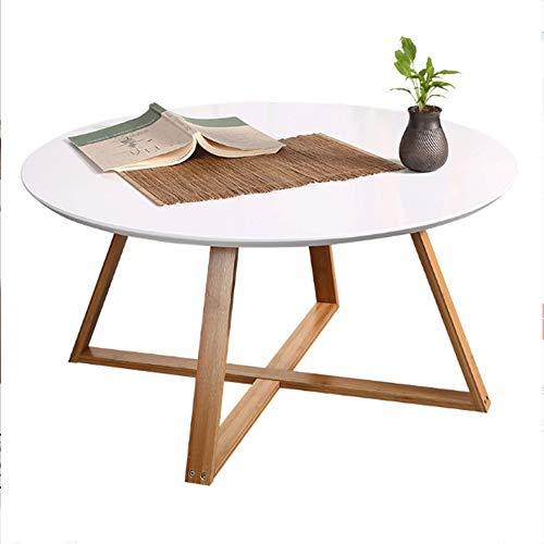 Tables HAIZHEN Pliable Petite Ronde, Pied en Bambou, d'appoint, 80 * 80 * 44 cm, Blanc Stations de Travail informatiques