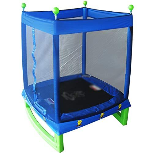 Trampolín Trampolin Infantil,Trampolín Rectangular Para Interiores Para Niños, Cama Que Despide Del Entretenimiento En El Hogar Con Red Protectora, Llevando 100 Kg ( Color : Blue , Size : 164*127cm )