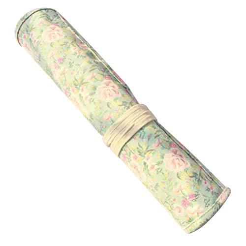 Toyvian Pinceles para Pintar Estuche Wrap Roll Up Bolígrafo con Estampado de Flores Organizador de Almacenamiento de Lona Bolsa para niños Artista Estudiante