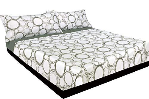 Montse Interiors Juego de sábanas Estampado Redondas Grises (Bubbles, para Cama de 135x190/200)