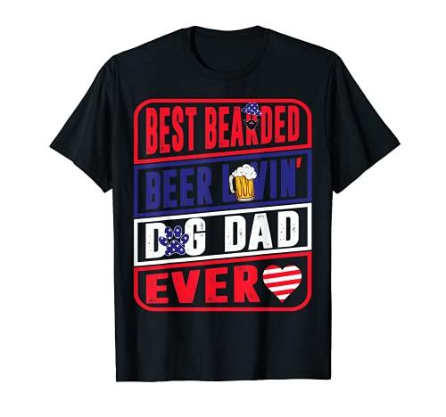 Hombre Mejor Cerveza Barbuda Lovin Dog Dad Pet Lover Propietario Camiseta