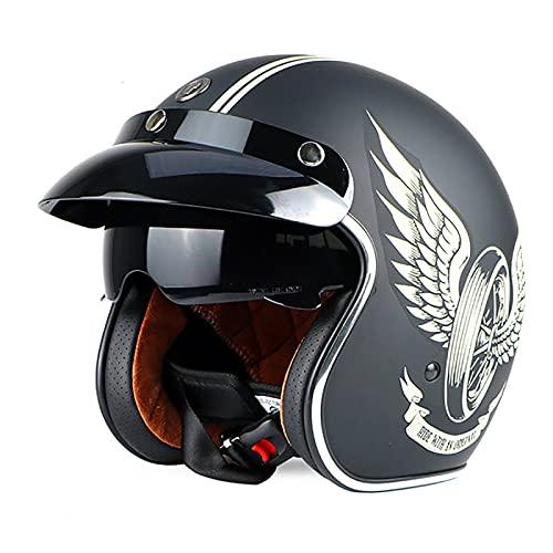 EBAYIN Cascos Half-Helmet Brain - Cap Retro Harley Motocicleta 3/4 Casco Cara...